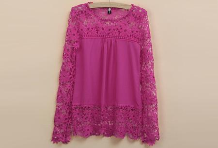 Kanten dames shirt | Fashionable lace top Roze