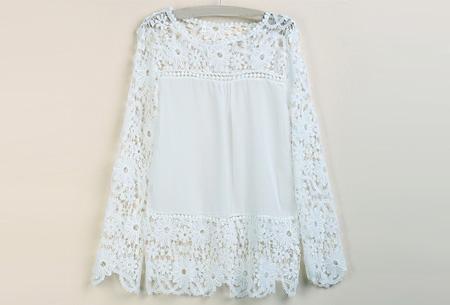 Kanten dames shirt | Fashionable lace top Wit