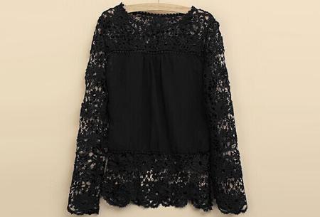Kanten dames shirt | Fashionable lace top Zwart
