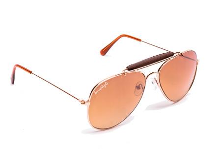 Spaceflight Design zonnebril | Inclusief beschermhoesje en microvezel schoonmaakdoekje Goud/Bruin