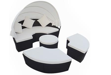 Luxe lounge tuinset t.w.v. €1099,- nu voor slechts €449,- | Heerlijk relaxen in je tuin! zwart