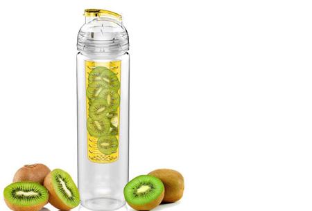 Waterfles met fruit filter en drinktuit nu slechts €7,95 | Maakt je water een stuk lekkerder! Geel
