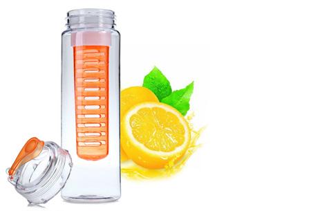 Waterfles met fruit filter en drinktuit nu slechts €7,95 | Maakt je water een stuk lekkerder! Oranje