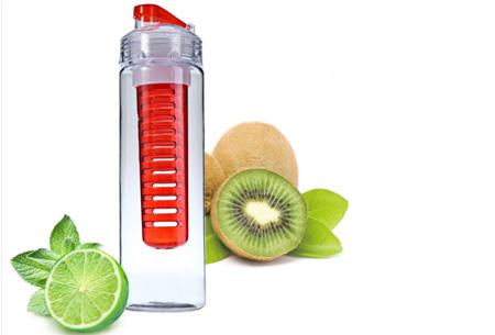 Waterfles met fruit filter en drinktuit nu slechts €7,95 | Maakt je water een stuk lekkerder! Rood