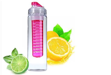 Waterfles met fruit filter en drinktuit nu slechts €7,95 | Maakt je water een stuk lekkerder! Roze