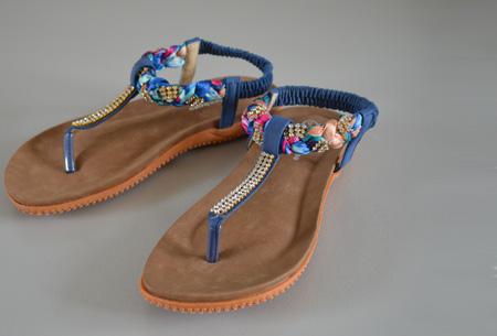 Boho Ibiza slippers - 35 - Blauw