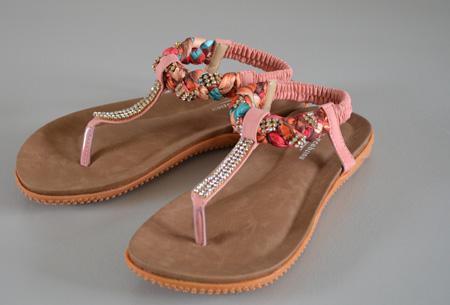 Boho Ibiza slippers - 35 - Roze