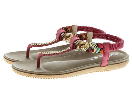 Boho Ibiza slippers Maat 40 (NL maat 39) - Rood - Boho Slippers