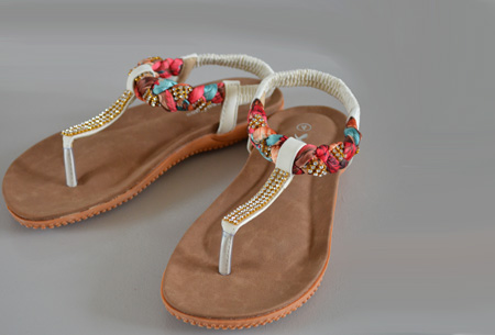 Boho Ibiza slippers - 38 - Wit
