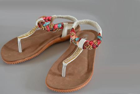 Boho Ibiza slippers - 36 - Wit