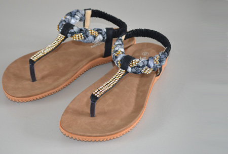 Boho Ibiza slippers - 38 - Zwart