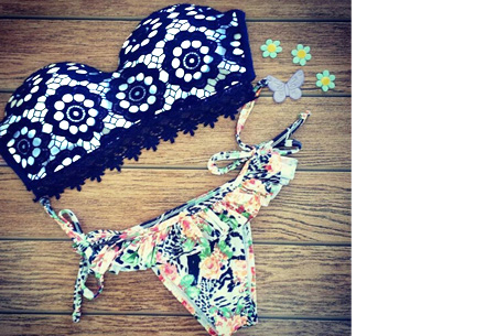 Brazilian bandeau bikini nu slechts €14,95 | Keuze uit 11 gave designs #1 Lace dark blue