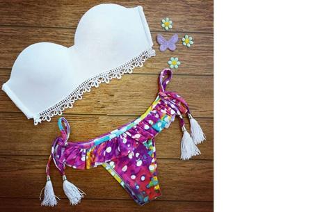 Brazilian bandeau bikini nu slechts €14,95 | Keuze uit 11 gave designs #4 Lace white purple