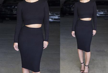 Two piece: rok en top nu voor maar €19,95 | Tweedelige kledingset met korting! Zwart