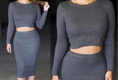 Two piece: rok en top nu voor maar €19,95 | Tweedelige kledingset met korting! Donkergrijs