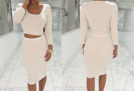 Two piece: rok en top nu voor maar €19,95 | Tweedelige kledingset met korting! Wit