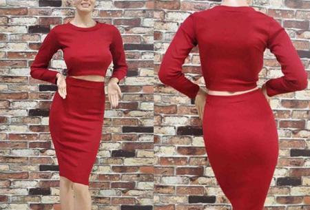 Two piece: rok en top nu voor maar €19,95 | Tweedelige kledingset met korting! Wijnrood