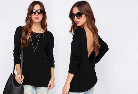 Open back shirt nu slechts €13,95 | Hip en stijlvol met een sexy twist! zwart