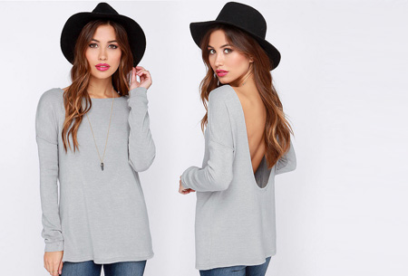 Open back shirt nu slechts €13,95 | Hip en stijlvol met een sexy twist! lichtgrijs