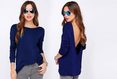 Open back shirt nu slechts €13,95 | Hip en stijlvol met een sexy twist! blauw