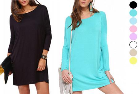 Oversized t-shirt jurk nu slechts €19,95 | Voor de maten XS t/m XXL in 8 vrolijke kleuren