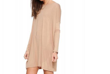 Oversized t-shirt jurk nu slechts €19,95 | Voor de maten XS t/m XXL in 8 vrolijke kleuren Beige