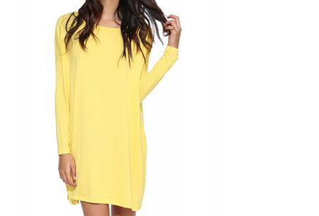 Oversized t-shirt jurk nu slechts €19,95 | Voor de maten XS t/m XXL in 8 vrolijke kleuren Geel