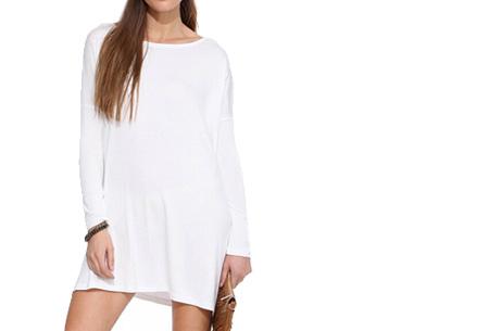 Oversized t-shirt jurk nu slechts €19,95 | Voor de maten XS t/m XXL in 8 vrolijke kleuren Wit