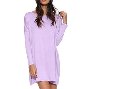 Oversized t-shirt jurk nu slechts €19,95 | Voor de maten XS t/m XXL in 8 vrolijke kleuren Lila