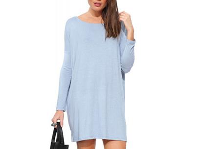 Oversized t-shirt jurk nu slechts €19,95 | Voor de maten XS t/m XXL in 8 vrolijke kleuren Lichtblauw