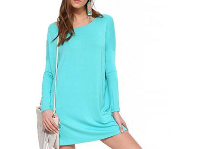 Oversized t-shirt jurk nu slechts €19,95 | Voor de maten XS t/m XXL in 8 vrolijke kleuren Turquoise
