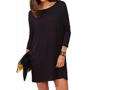 Oversized t-shirt jurk nu slechts €19,95 | Voor de maten XS t/m XXL in 8 vrolijke kleuren Zwart