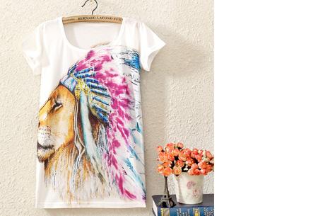 T-shirt met leuke print | Keuze uit 19 verschillende uitvoeringen! #11 Leeuw