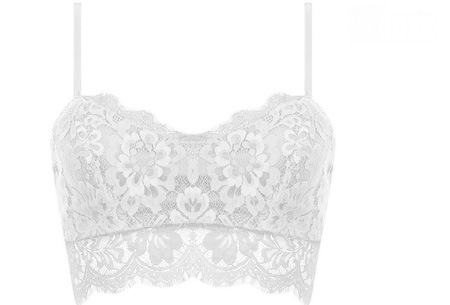 Lace crop top Maat M - Wit