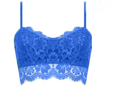 Lace crop top Maat S - Blauw