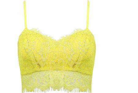 Lace crop top | Zomers, stijlvol en sexy! Geel