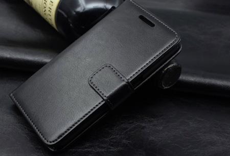 PU lederen telefoon flipcase nu slechts €7,95 | Voor iPhone en Samsung smartphones Zwart