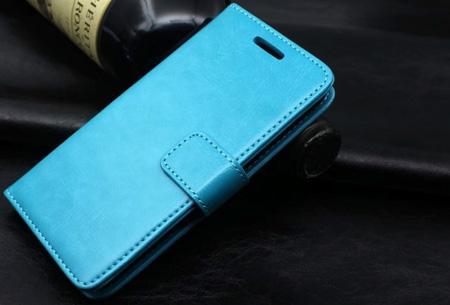 PU lederen telefoon flipcase nu slechts €7,95 | Voor iPhone en Samsung smartphones Blauw