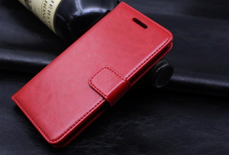 PU lederen telefoon flipcase nu slechts €7,95 | Voor iPhone en Samsung smartphones Rood