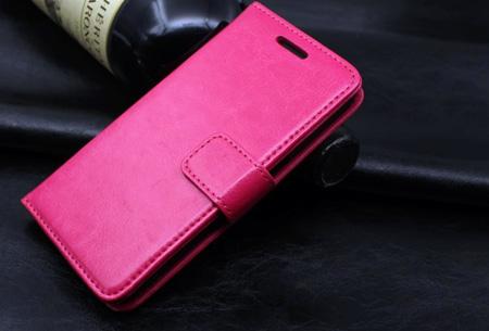 PU lederen telefoon flipcase nu slechts €7,95 | Voor iPhone en Samsung smartphones Fuchsia
