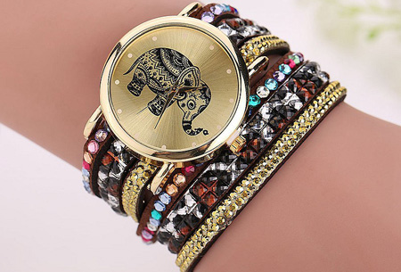Sparkle Elephant armbandhorloge nu slechts €6,95 | Hippe & glamorous eyecatcher! bruin