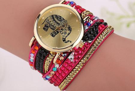 Sparkle Elephant armbandhorloge nu slechts €6,95 | Hippe & glamorous eyecatcher! fuchsia