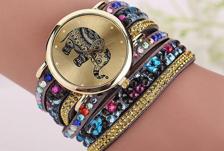 Sparkle Elephant armbandhorloge nu slechts €6,95 | Hippe & glamorous eyecatcher! grijs