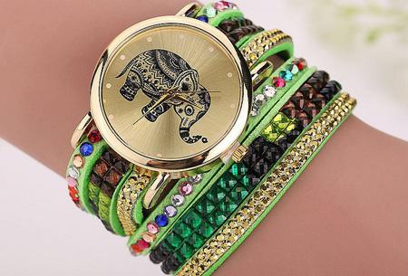 Sparkle Elephant armbandhorloge nu slechts €6,95 | Hippe & glamorous eyecatcher! groen