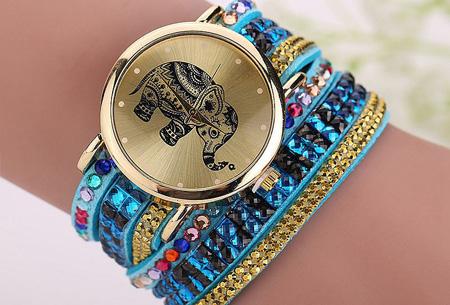 Sparkle Elephant armbandhorloge nu slechts €6,95 | Hippe & glamorous eyecatcher! lichtblauw