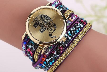 Sparkle Elephant armbandhorloge nu slechts €6,95 | Hippe & glamorous eyecatcher! paars