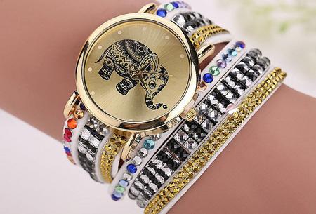 Sparkle Elephant armbandhorloge nu slechts €6,95 | Hippe & glamorous eyecatcher! wit