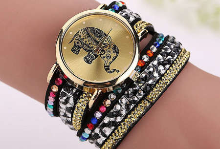 Sparkle Elephant armbandhorloge nu slechts €6,95 | Hippe & glamorous eyecatcher! zwart