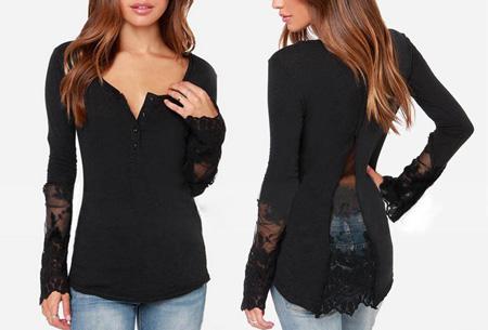 Classy Lace top nu slechts €11,95 | Met prachtige kanten details! zwart