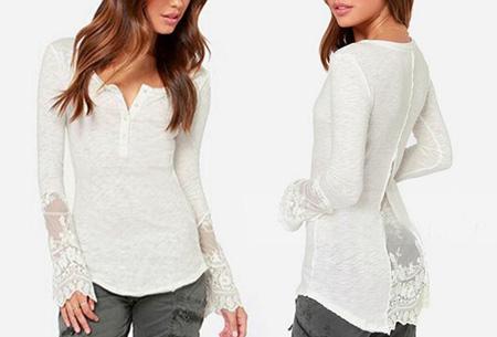 Classy Lace top nu slechts €11,95 | Met prachtige kanten details! wit